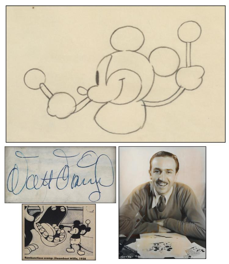 Ub Iwerks Production Drawing Of Mickey Mouse From Steamboa