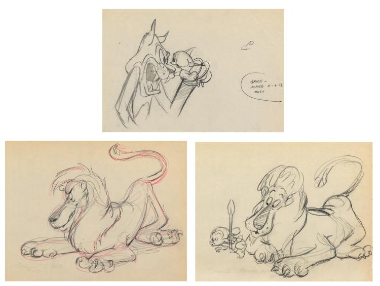 Early Warner Bros. (3) production drawings from a 1940s theatrical short.