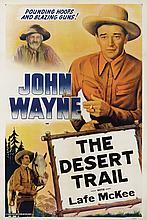 John Wayne The Desert Trail linen-backed one sheet poster.