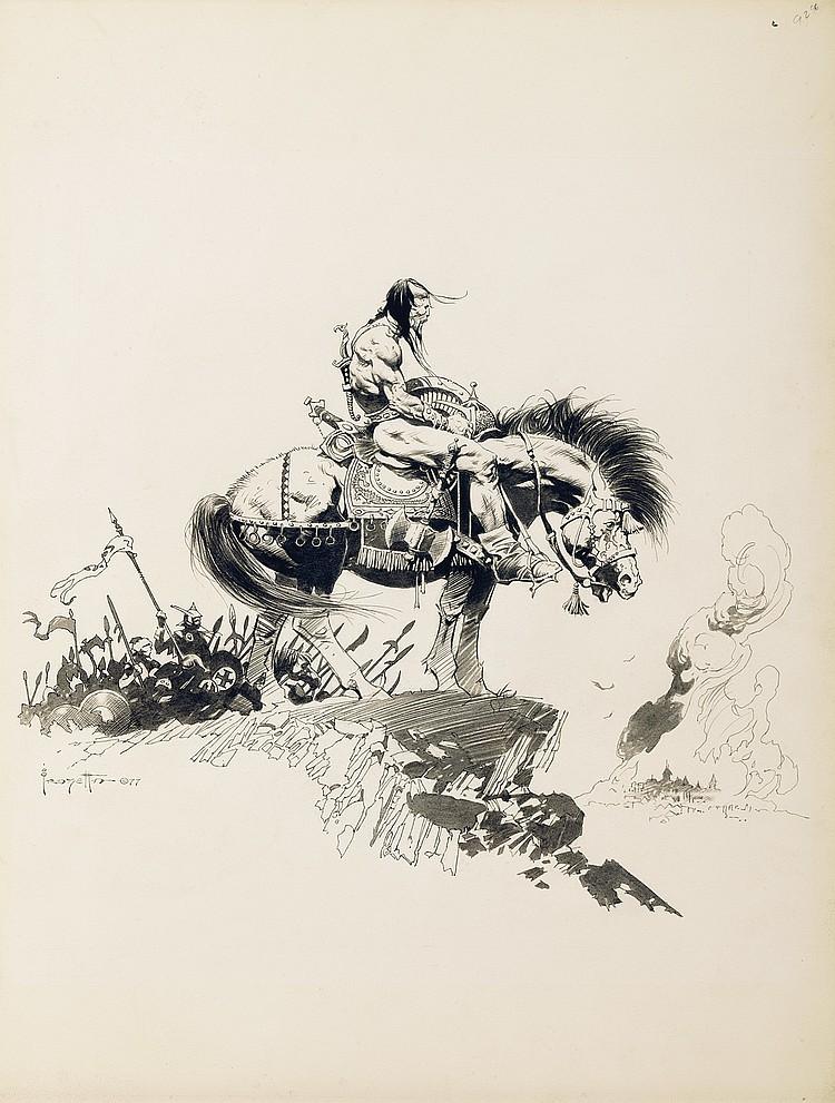 (Frazetta) Kubla Khan Portfolio cover.