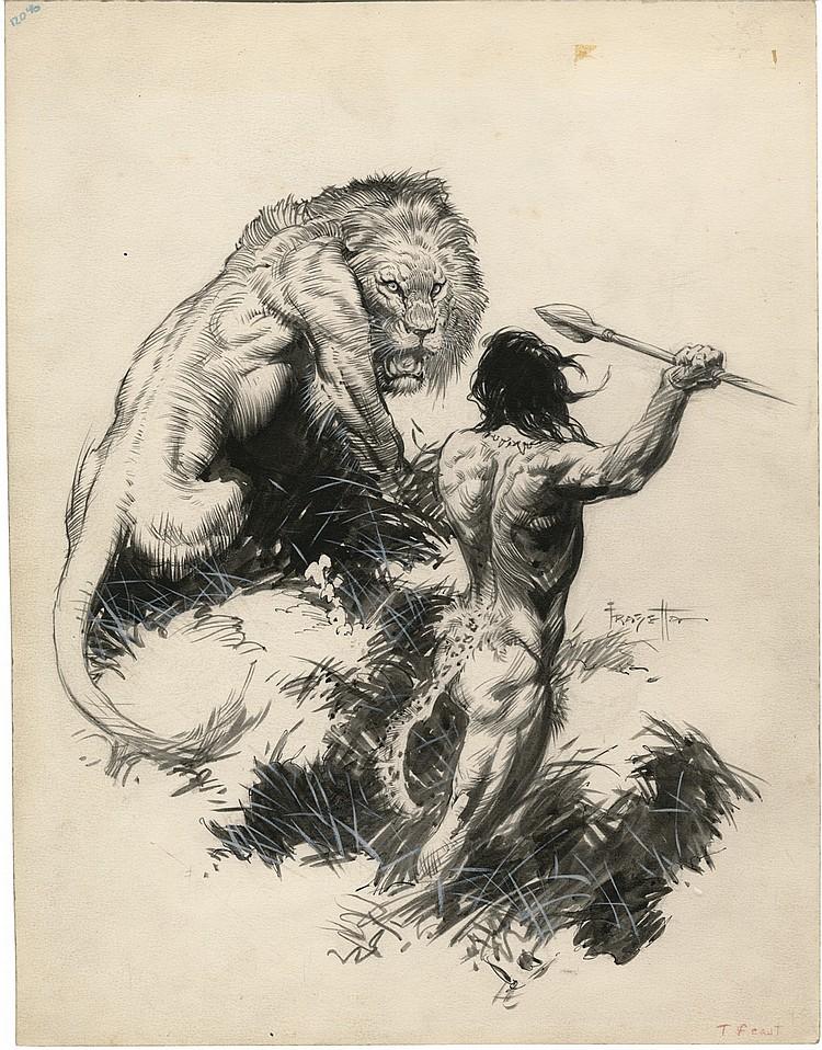 (Frazetta) Tarzan and the Golden Lion.