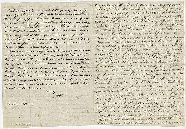 Davis, Jefferson. Letter signed with a lengthy postscript, 6 pages (9 ½ x 7 ½ in.; 241 x 191 mm.)
