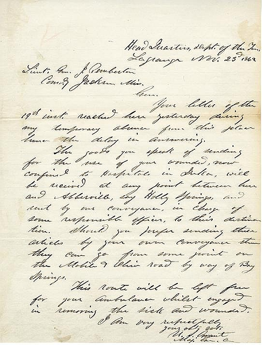 Grant, Ulysses S. Autograph letter signed, 4 pages, (9 7/8 x 7 ½ in.; 251 x 191 mm.)