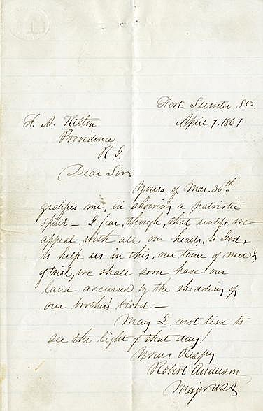 Anderson, Robert. Autograph letter signed, 2 pages, (8 ¼ x 5 ¼ in.; 210 x 133 mm.)
