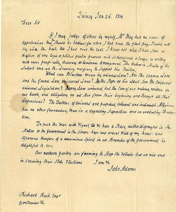 Adams, John. Important autograph letter signed (