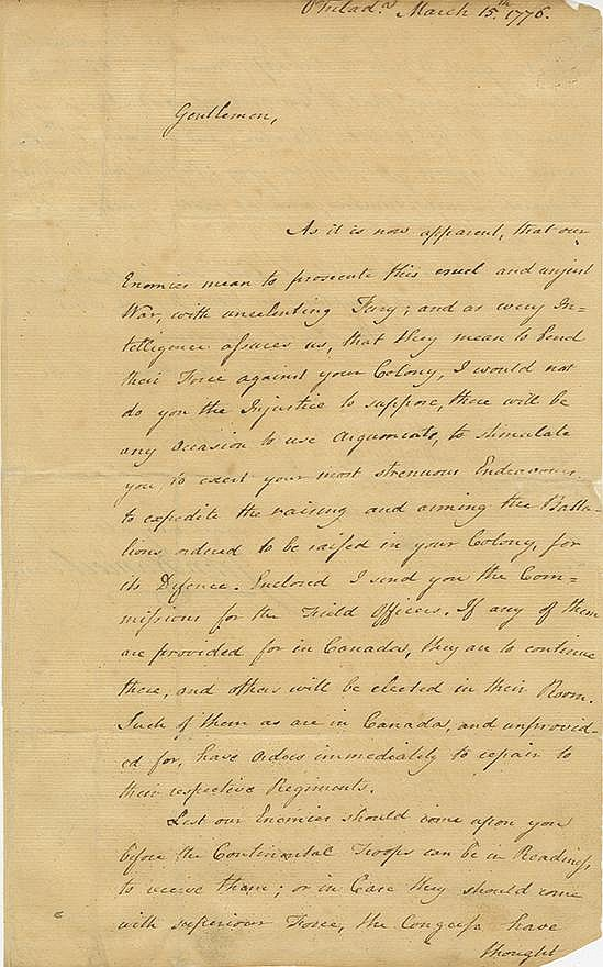 Hancock, John. Letter signed as President of the Continental Congress, 2 pages (12 ¼ x 7 ½ in.)