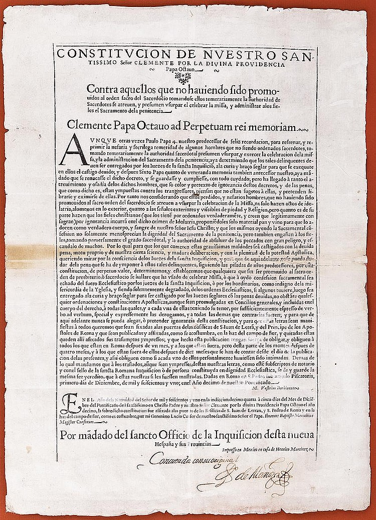[Inquisition of Mexico and Florida]. Printed broadside signed, 1 page (17 x 12 in.; 432 x 305 mm.)