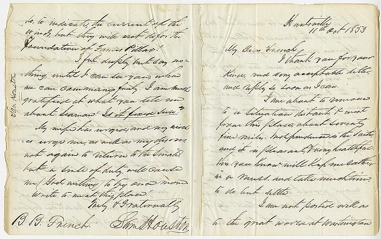 Houston, Samuel. Autograph letter signed, 4 pages (9 ¾ x 7 7/8 in.; 248 x 200 mm.)