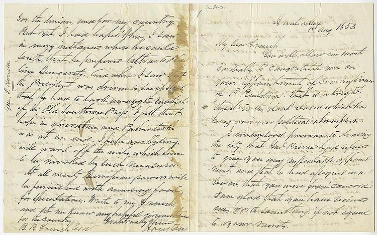 Houston, Samuel. Autograph letter signed, (