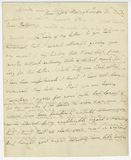 Cornwallis, Charles. Autograph letter signed (