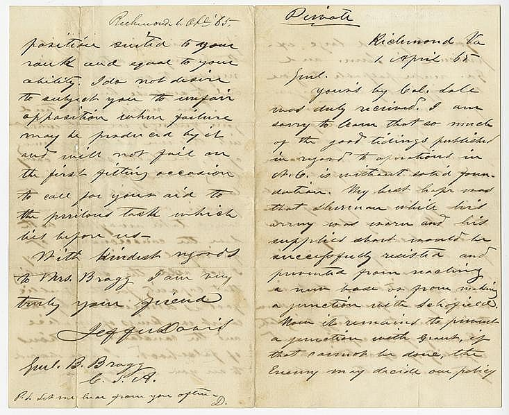 Davis, Jefferson. Superb autograph letter signed and initialed, 4 pages (8 x 5 in.; 203 x 127 mm.)