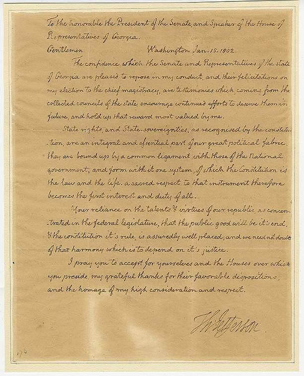 Jefferson, Thomas. Highly important autograph letter signed as President, 1 page (9 ¾ x 7 7/8 in.)