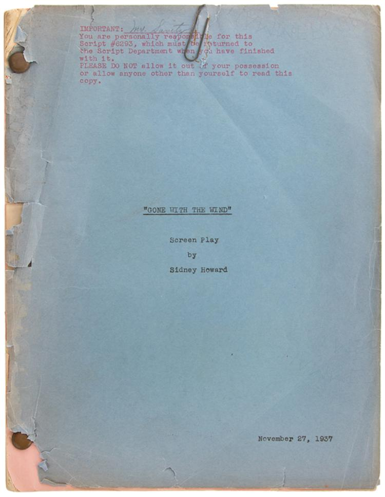 Gone With The Wind Vintage Original Production Script