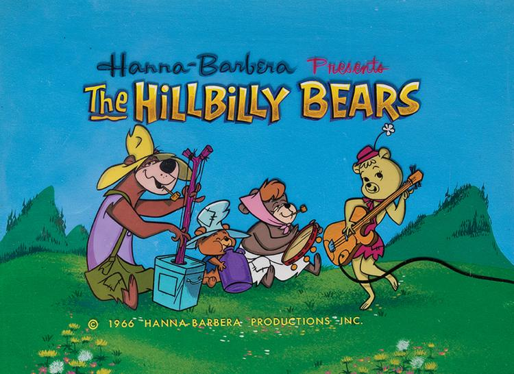 The Hillbilly Bears title cels and matching production backg