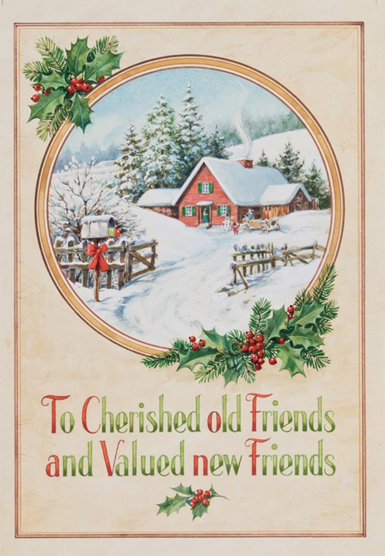 3 Christmas Card Illustration Paintings Featuring Snow Sce: christmas card scenes to paint