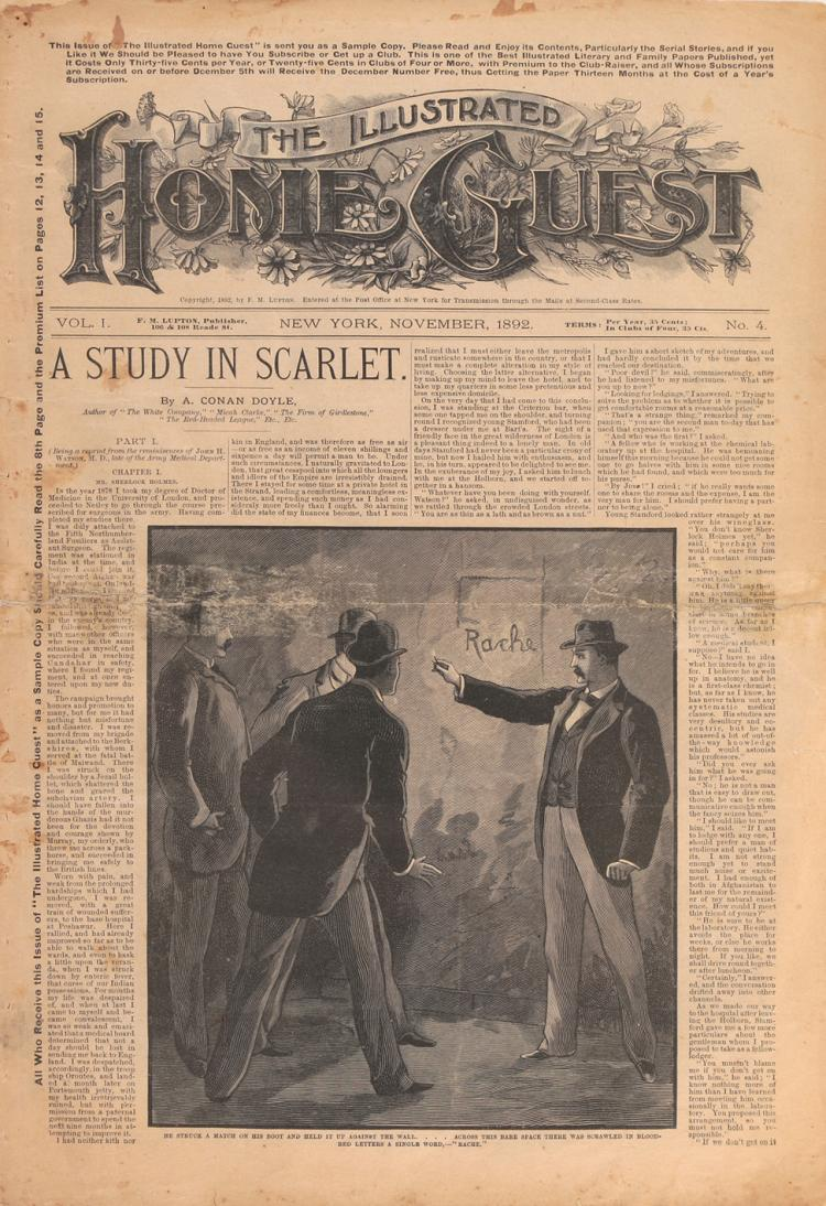 an overview of a study in scarlet by sir arthur conan doyle A study in scarlet is the first published story of one of the most famous literary detectives of all time, sherlock holmes here dr watson, who has just returned from a war in afghanistan, meets sherlock holmes for the first time when they become flat-mates at the famous 221 b baker street.