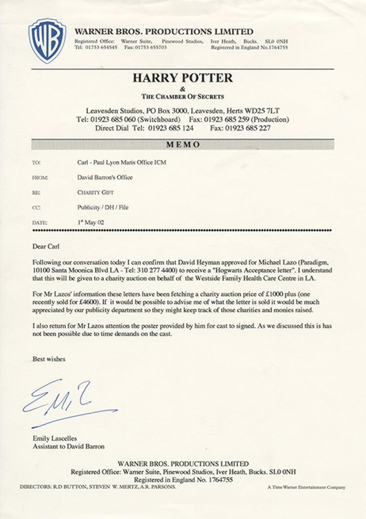 hogwarts acceptance envelope with warner bros letter d radcliffe quot harry quot hogwarts acceptance letter from harry 149