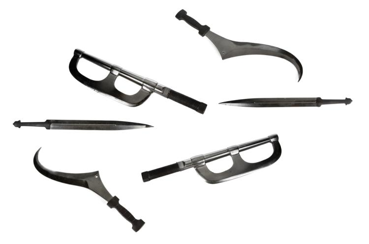 Collection of (6) assorted prop weapons from the Training Center in The Hunger Games .