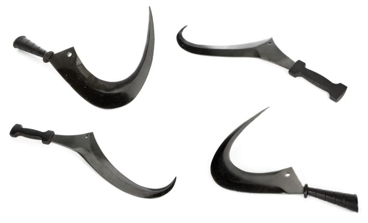 Collection of (4) prop scythes from the Training Center in The Hunger Games .