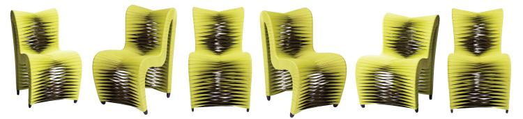 (6) futuristic chairs from the 12th Floor Tribute apartment dining room in  The Hunger Games .