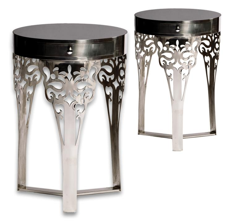 """Katniss Everdeen"" (2) silver nightstands from her Tribute apartment bedroom in The Hunger Games ."