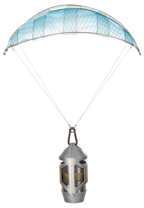 """Katniss Everdeen"" sponsor gift parachute with prototype canister from The Hunger Games ."