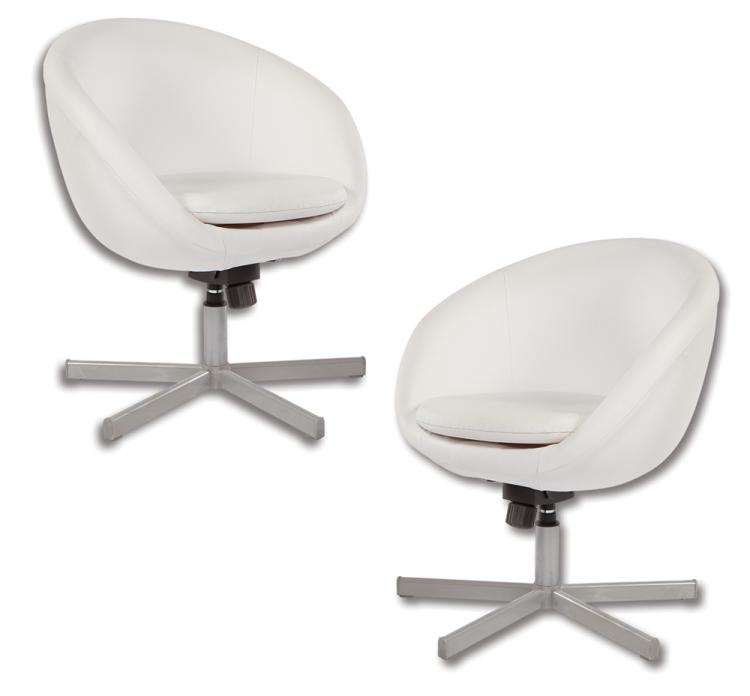 """Caesar Flickerman"" (2) white interview chairs from  The Hunger Games ."