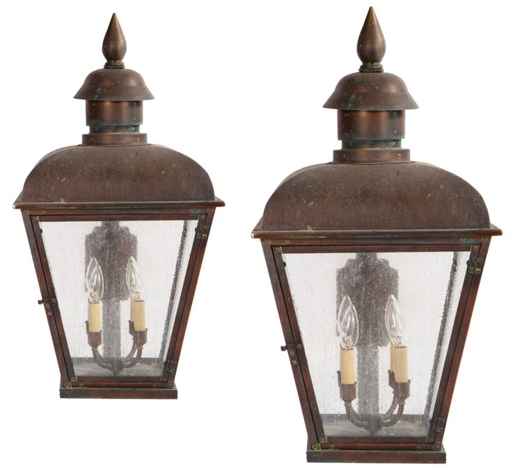 District 12 (2) copper wall sconce lanterns from Victors' Village in : Catching Fire .