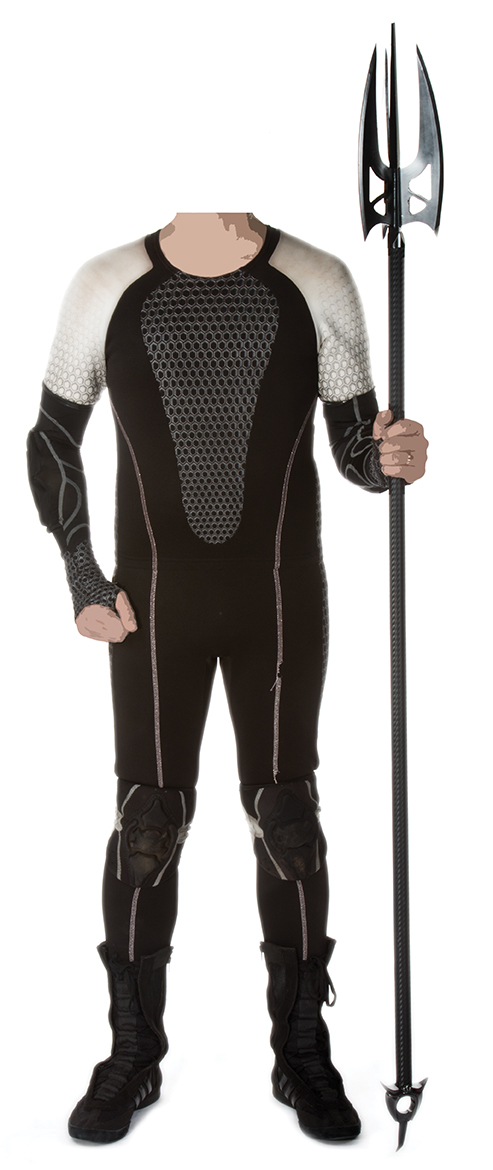 """""""Finnick Odair"""" arena wetsuit with prop trident from The Hun"""