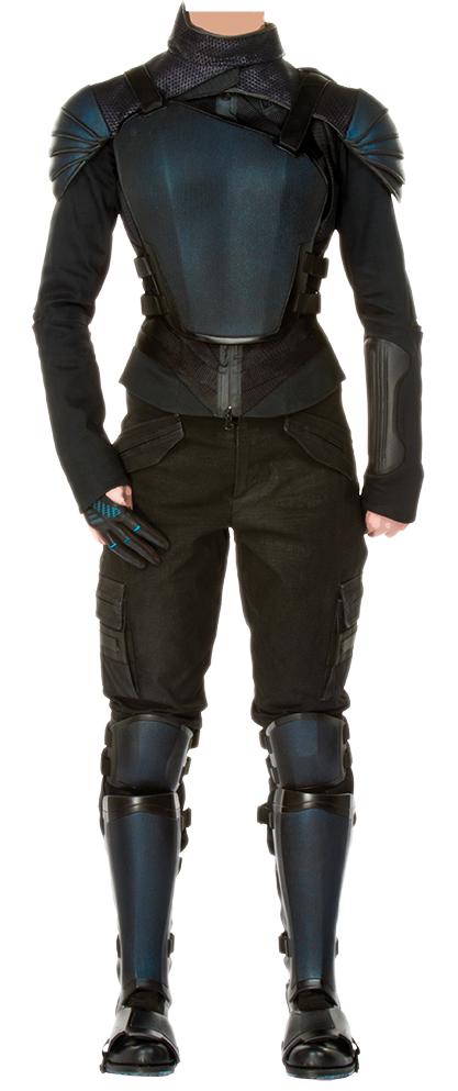 """Katniss Everdeen"" Mockingjay propaganda ensemble from The Hunger Games: Mockingjay - Part 1 ."
