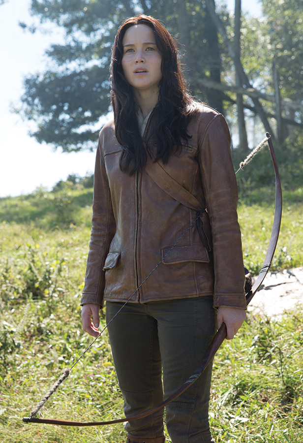 """""""Katniss Everdeen"""" hunting ensemble with bow from The Hunger Games: Mockingjay - Part 2 ."""