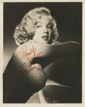 Marilyn Monroe (3) photographs with secretarial autographs and (1) unsigned vintage swimsuit still.