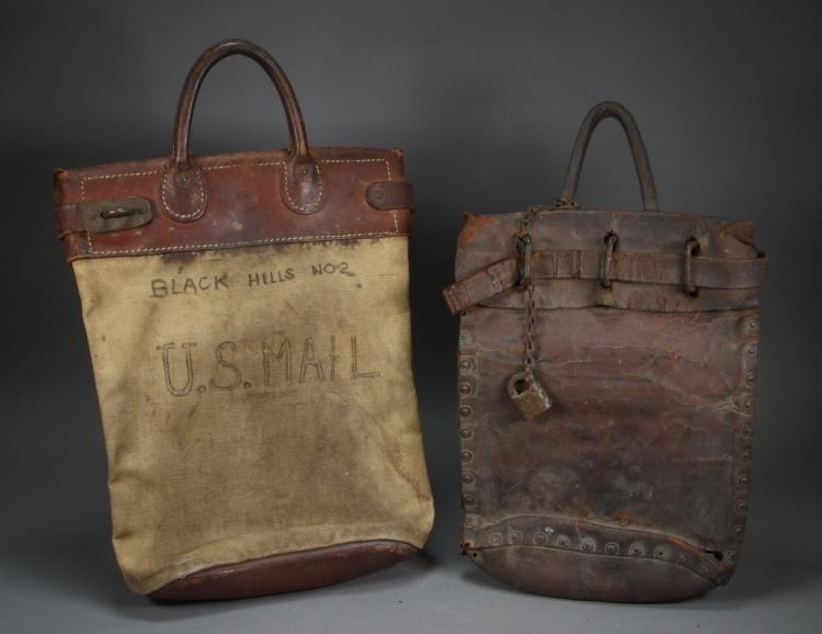2 Vintage Pony Express Leather US Mail Bags