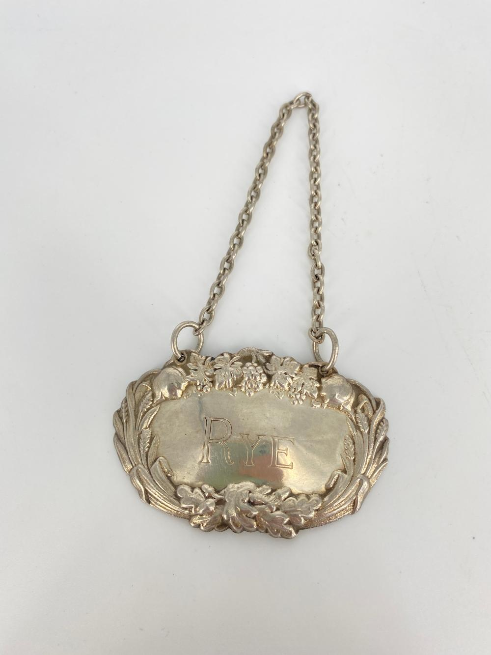 STERLING SILVER RYE LIQUER BOTTLE TAG