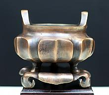 BRONZE TRI-FOOT LOTUS CENSOR WITH STAND