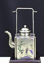 BRONZE TEAPOT WITH RELIEF