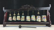 SET OF CLOISONNE ENAMEL BELLS
