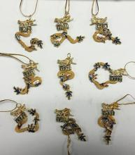 SET OF FILAGREE DRAGON PENDANTS