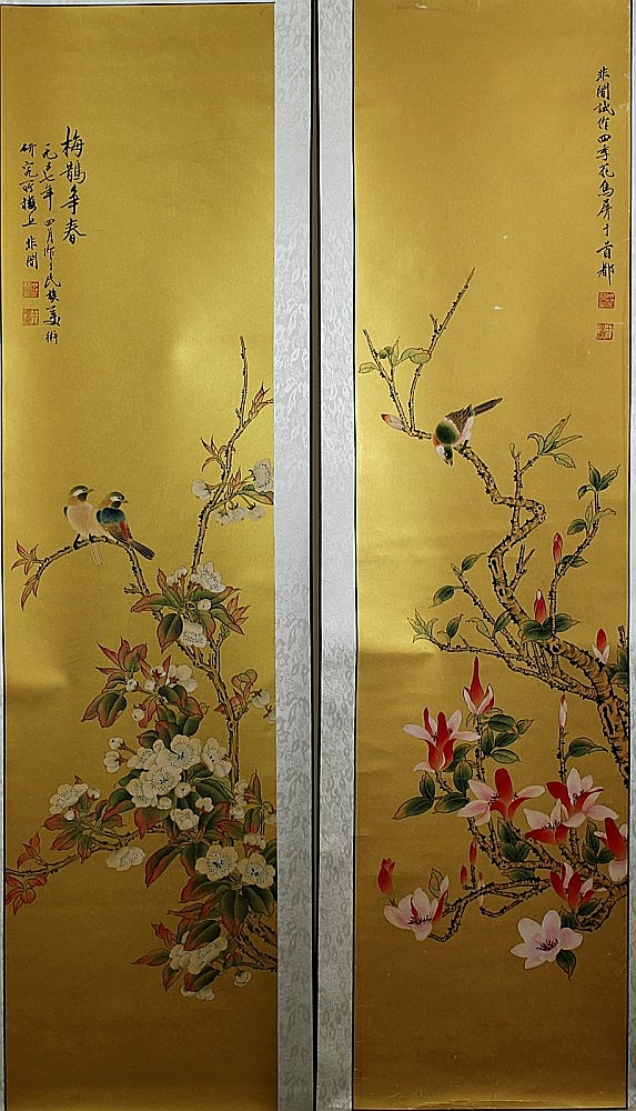 TWO SCROLL PAINTINGS ON GOLDEN PAPER, ATTRIBUTED TO YU FEI-AN