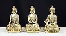 THREE BRONZE BUDDHA STATUES