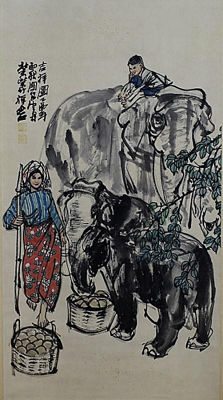 SCROLL PAINTING ON PAPER,  ATTIBUTED TO SHI GUO LIANG