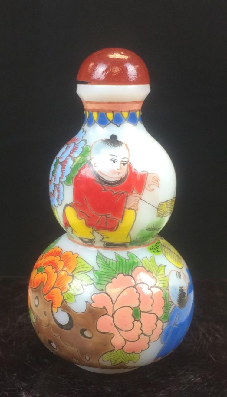 PEKING GLASS CALABASH SNUFF BOTTLE