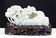 RARE FINE WHITE JADE CARVING