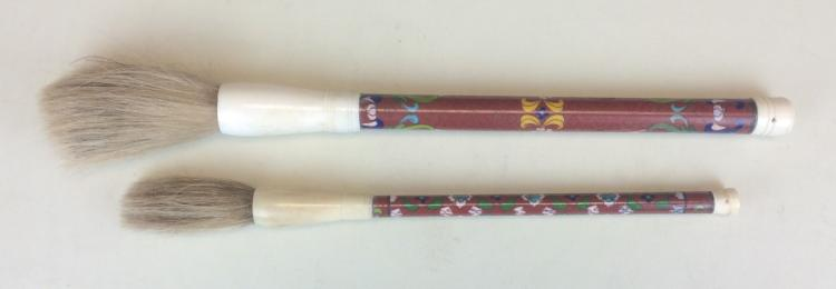 TWO WRITING BRUSHES WITH CLOISONNE ENAMEL HOLDERS