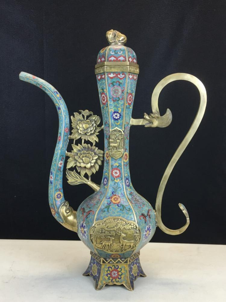 CLOISONNE ENAMEL LONG MOUTH KETTLE