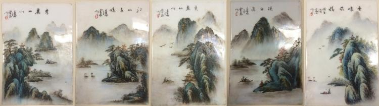 SET OF FIVE PORCELAIN PLATE PAINTINGS
