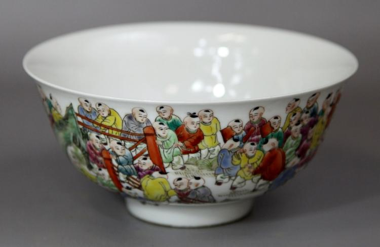 FAMILLE ROSE PORCELAIN BOWL WITH CHILDREN DESIGN