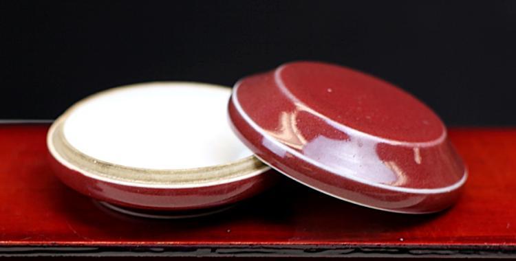 RED GLAZED PORCELAIN BOX