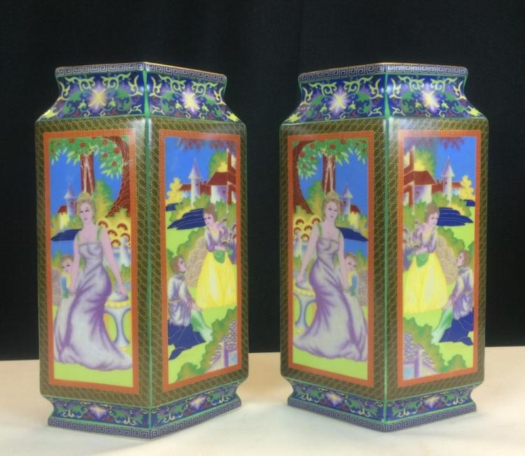 PAIR OF COLOR ENAMEL GLAZED PORCELAIN VASES