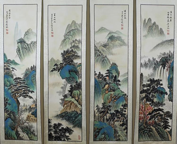 FOUR SCROLL PAINTINGS ON PAPER,  ATTRIBUTED TO WU HU FAN